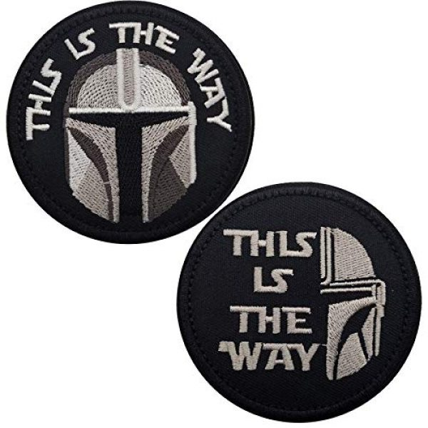 APBVIHL Airsoft Morale Patch 1 This is The Way Mandalorian Morale Patch, Fastener Hook and Loop Backing Tactical Military Embroidered Fabric Patches for Clothes Hat Backpack, 3.15 Inch, Bundle 2 Pieces