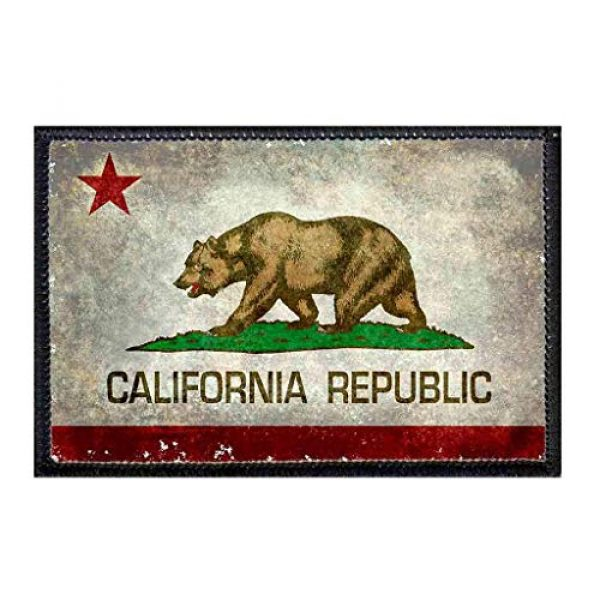 P PULLPATCH Airsoft Morale Patch 1 California State Flag - Color - Distressed Morale Patch | Hook and Loop Attach for Hats, Jeans, Vest, Coat | 2x3 in | by Pull Patch