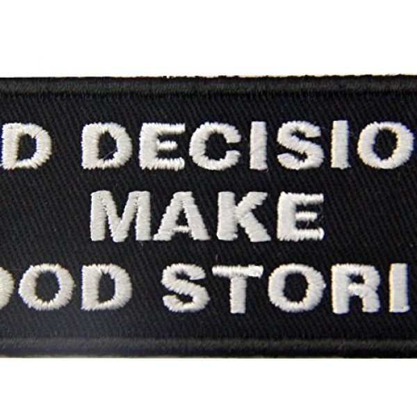 EmbTao Airsoft Morale Patch 2 Bad Decisions Make Good Stories Tactical Patch Embroidered Morale Applique Iron On Sew On Emblem