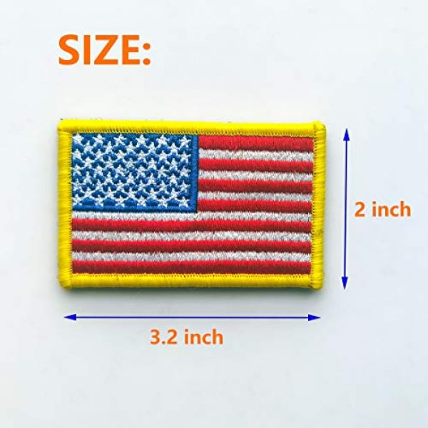 EtherealKiller Airsoft Morale Patch 2 American Flag Velcro Patches, 4pcs Gold Border US Flag Hook and Loop Emblems for Backpacks, Caps, Hats, Jackets, Pants