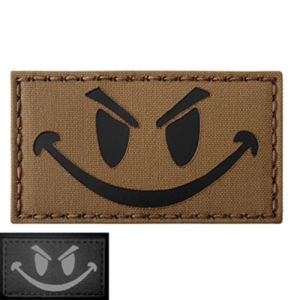 Tactical Freaky Airsoft Morale Patch 1 Coyte Brown Infrared Evil Smiley 3.5x2 Tan Arid Tactical Morale Hook-and-Loop Patch