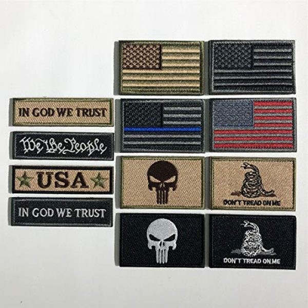 XUNQIAN Airsoft Morale Patch 2 Bundle 12 Pieces USA Flag Patch Thin Blue Line Tactical American Flag US United States Military Morale Patches Set for Caps,Bags,Backpacks,Tactical Vest,Military Uniforms (D-USA Patch)