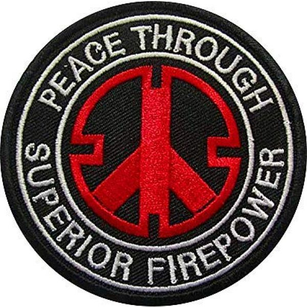 Embroidery Patch Airsoft Morale Patch 1 Peace Through Superior Firepower Military Hook Loop Tactics Morale Embroidered Patch