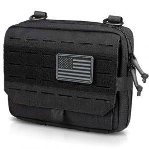 WYNEX Tactical Pouch 1 WYNEX Tactical Molle Admin Pouch of Tri-Fold Open Design, Molle Tool Pouch First Aid Pouch EDC Utility Pouches Tools Bag Molle Attachment Organizer Include U.S.A Flag Patch