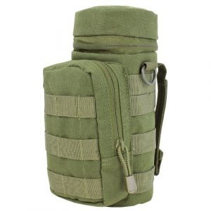 Ultimate Arms Gear Tactical Pouch 1 Ultimate Arms Gear H2O Water Bottle Hydration Tactical MOLLE Webbing Pouch with Hose Tube Pass-Thru, Front Accessory Pocket Compartment, D-Rings & Grommet Drain, OD Olive Drab Green