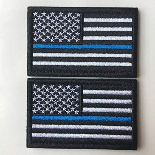 Hng Kiang Hu Airsoft Morale Patch 2 Bundle 2 Pieces-Tactical Police Law Enforcement Thin Blue Line American Flag US United States of America Military Morale Patches (Black-Blue Thin)