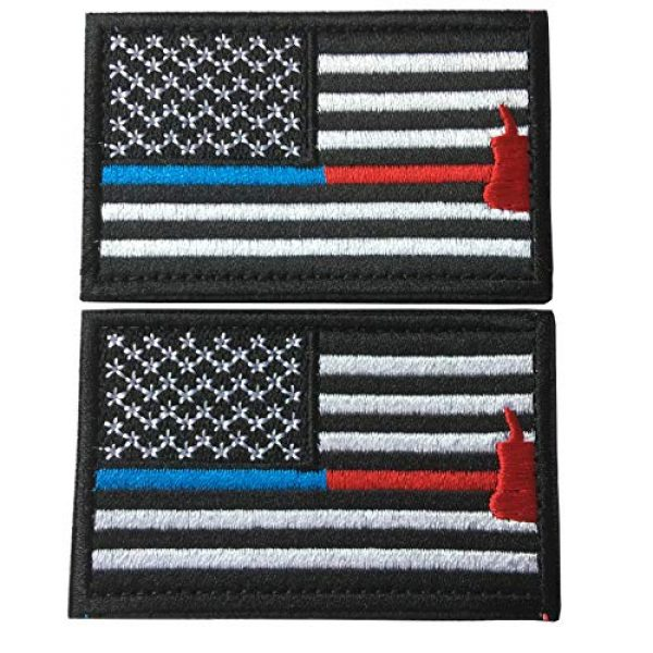 Hng Kiang Hu Airsoft Morale Patch 1 Bundle 2 Pieces Police Firefighter Axe USA Flag Thin Blue and Red Line Fully Embroidered Morale Tags Patch (Blue and Red Line)