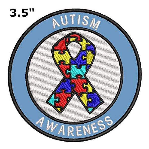 """Appalachian Spirit Airsoft Morale Patch 2 Autism Awareness Support Puzzle Ribbon 3.5"""" Round Embroidered Patch DIY Iron or Sew-on Decorative Vacation Travel Souvenir Applique"""