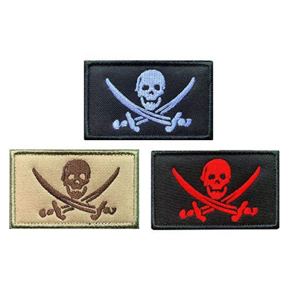 Antrix Airsoft Morale Patch 1 Antrix 3 Pcs Black Red Brown Pirate Flag Patch Jolly Roger Captain Jack Tactical Military Emblem Badge Hook & Loop Patch for Backpacks Caps Hats Vests Military Uniforms Etc.