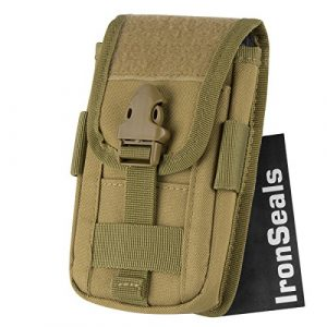 """IronSeals Tactical Pouch 1 IronSeals Tactical Molle Pouch Compact EDC Utility Gadget Waist Bag Pack with Cell Phone Holster and Card Slots for 4.7""""-6.5"""" Phone"""