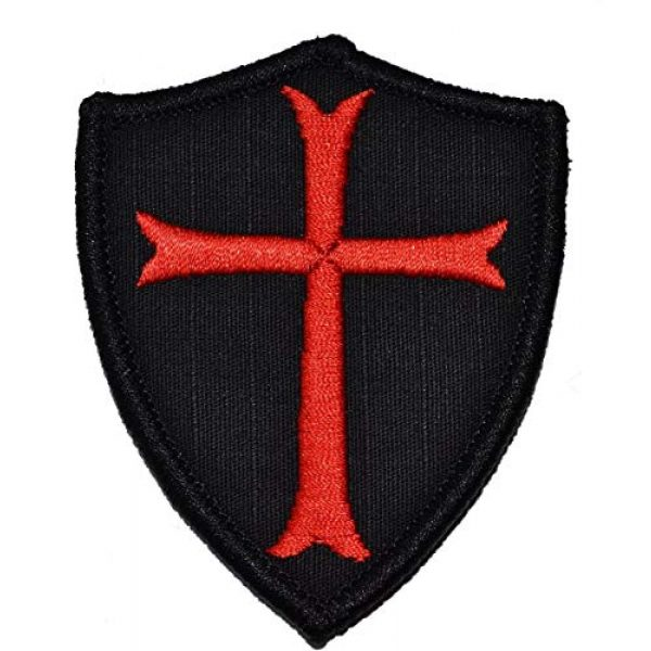 TrendyLuz Airsoft Morale Patch 1 TrendyLuz Knights Templar Cross Shield Military Morale Tactical Embroidered Hook & Loop Patch