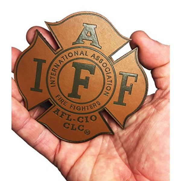 """Empire Tactical USA Airsoft Morale Patch 2 Genuine Leather IAFF UNION 4"""" (hook/loop) Firefighter/EMT/Paramedic Morale PATCH"""