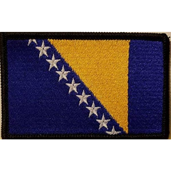 Fast Service Designs Airsoft Morale Patch 1 Bosnia Flag Embroidered Patch with Hook & Loop Morale Tactical Travel Bosnian Emblem Black Border