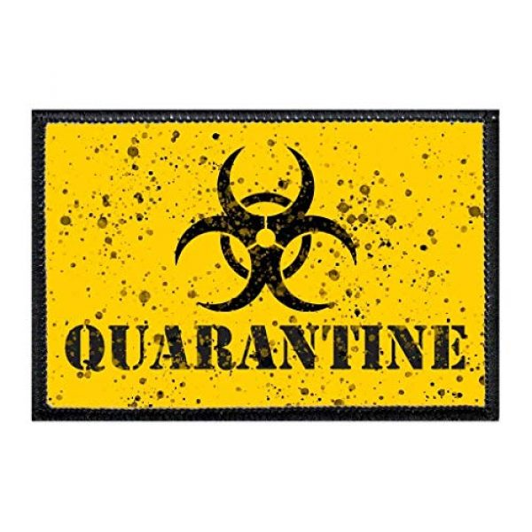 P PULLPATCH Airsoft Morale Patch 1 Quarantine | Hook and Loop Attach for Hats, Jeans, Vest, Coat | 2x3 in | by Pull Patch