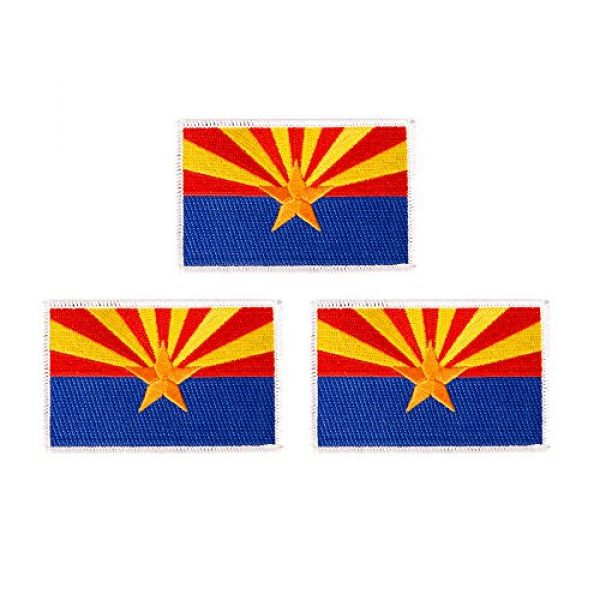 Desert Cactus Airsoft Morale Patch 1 Arizona AZ Flag Patch Bulk 3.5 inch x 2.25 inch State Iron On Sew Embroidered Tactical Backpack Hat Bags Caps Jackets Pants (3-Pack Patch)