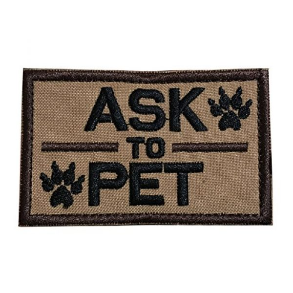 TrendyLuz Airsoft Morale Patch 1 TrendyLuz Ask to Pet, K9 Service Dog Embroidered Tactical Morale Hook & Loop Patch (Coyote Brown)