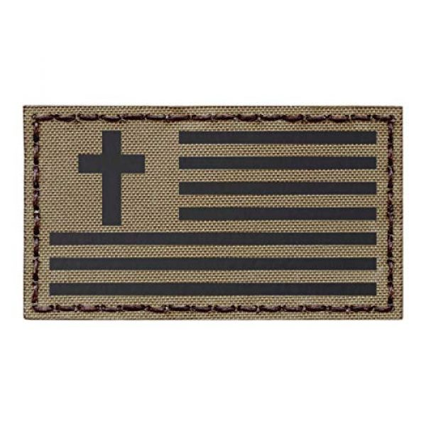 Tactical Freaky Airsoft Morale Patch 1 IR Tan 2x3.5 USA Flag Christian Cross Jesus Christ Coyote Brown Crucifix Religion God Infrared Tactical Morale Fastener Patch