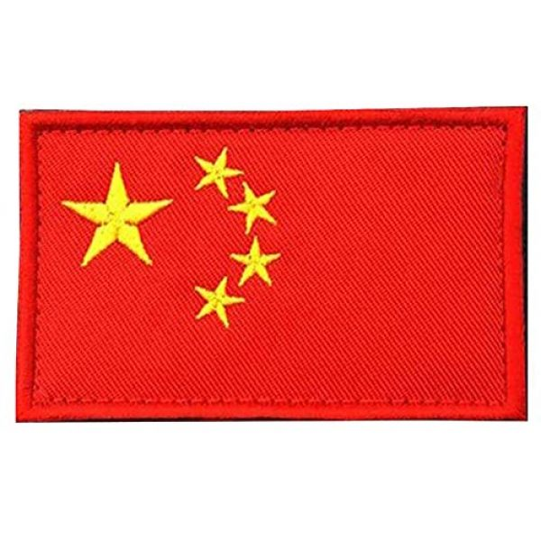 TopAAA Airsoft Morale Patch 1 TopAAA China CN Flag Military Embroidered Tactical Patch Morale Shoulder Applique 2packs