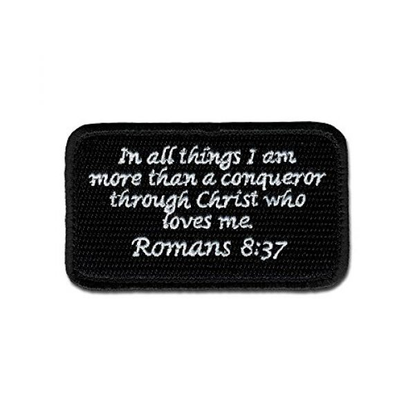 BASTION Airsoft Morale Patch 1 BASTION Morale Patches (Romans 8:37, BNW) | 3D Embroidered Patches with Hook & Loop Fastener Backing | Well-Made Clean Stitching | Christian Patches Ideal for Tactical Bag, Hats & Vest
