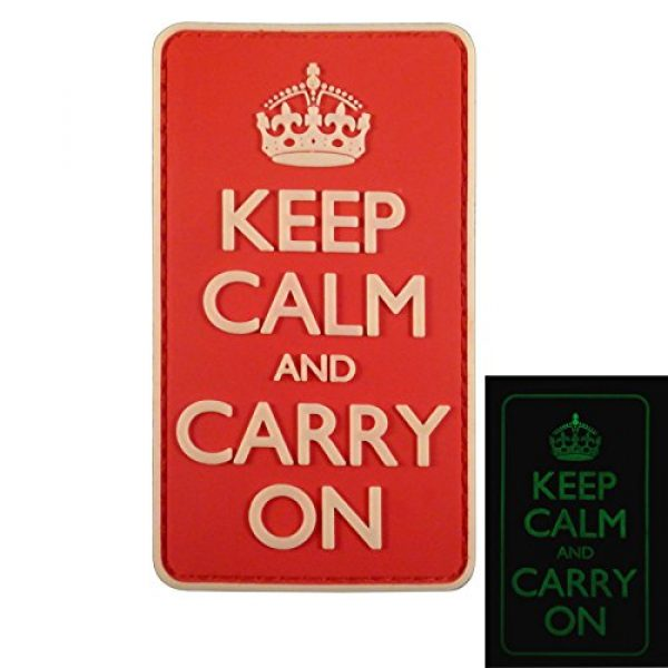 LEGEEON Airsoft Morale Patch 1 LEGEEON Keep Calm Carry On WW2 WWII Morale PVC 3D Hook&Loop Patch