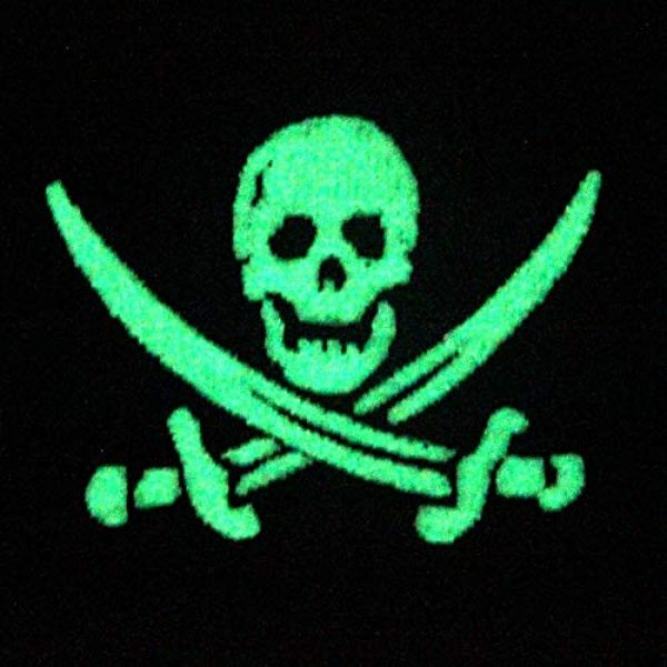 EmbTao Airsoft Morale Patch 3 Glow in Dark Pirate Flag Military Morale Applique Fastener Hook & Loop Patch