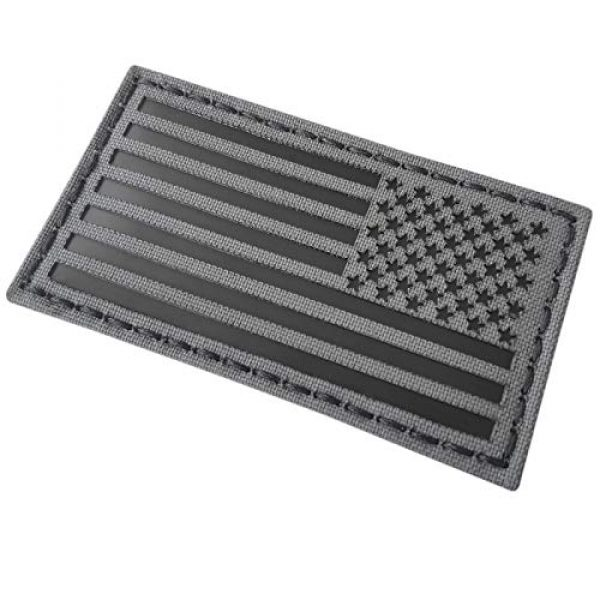 Tactical Freaky Airsoft Morale Patch 4 Wolf Gray 2x3.5 IR USA American Reversed Flag Infrared Stars and Stripes IFF Tactical Morale Fastener Patch