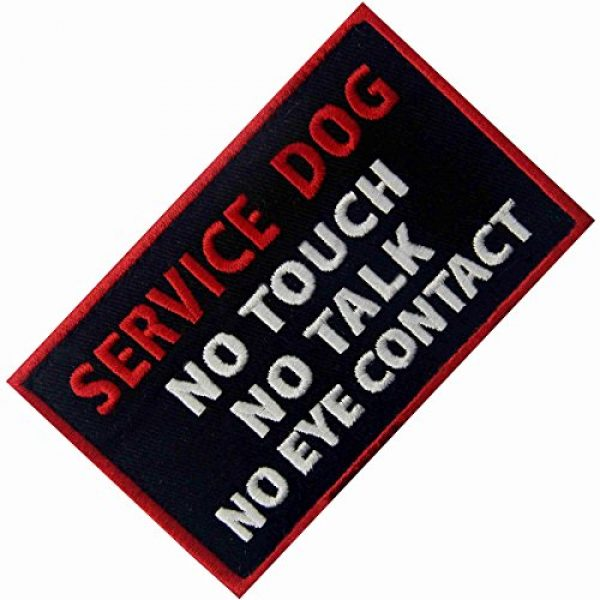 EmbTao Airsoft Morale Patch 3 Service Dog No Touch No Talk No Eye Contact Vests/Harnesses Emblem Embroidered Fastener Hook & Loop Patch
