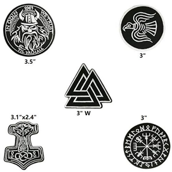 Cute-Patch Airsoft Morale Patch 2 5pcs Set Vikings Iron On Patches Embroidered Norse Rune Badge in Odin WE Trust Emblem
