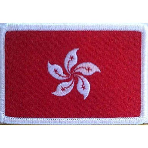 Fast Service Designs Airsoft Morale Patch 1 Hong Kong Flag Embroidered Patch with Hook & Loop Travel Morale Patriotic MC Biker Shoulder White Border Emblem #427