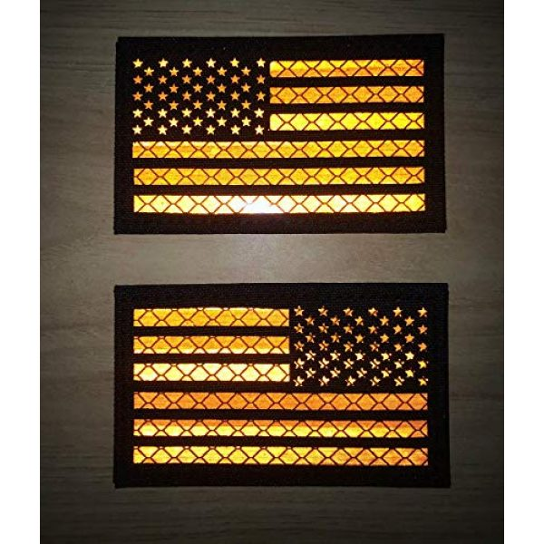 Hannah Fit Airsoft Morale Patch 3 2x3.5 Reflective US USA American Flag Tactical Patches Hook-Fastener Backing (1 Left + 1 Right (Black-Orange)