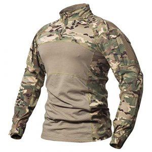 CARWORNIC Tactical Shirt 1 Gear Men's Tactical Military Combat Shirt Cotton Army Assault Camo Long Sleeve T Shirt