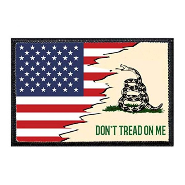 P PULLPATCH Airsoft Morale Patch 1 Don't Tread On Me - American Flag Morale Patch | Hook and Loop Attach for Hats, Jeans, Vest, Coat | 2x3 in | by Pull Patch