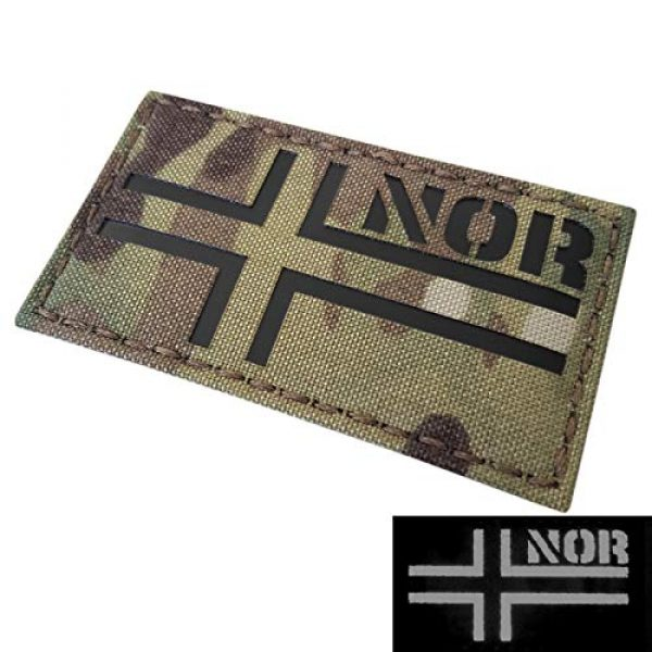 Tactical Freaky Airsoft Morale Patch 3 IR Multicam Norway Norge Flag 2x3.5 IFF Infrared Tactical Morale Hook&Loop Patch