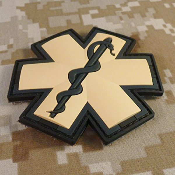 LEGEEON Airsoft Morale Patch 2 EMS EMT Medic Paramedic Star of Life AOR1 Desert DCU Arid Mud Morale PVC Fastener Patch