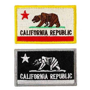 JumpyFire Airsoft Morale Patch 1 Bundle 2 Packs California Republic Flag Velcro Patch Badges, Personalized Military Patch Set, Fully 3D Embroidered Hook and Loop Morale Patches