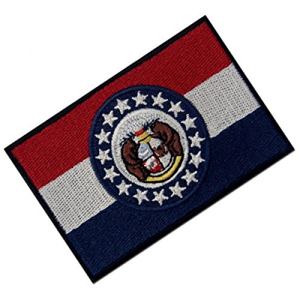 EmbTao Airsoft Morale Patch 3 Missouri State Flag Embroidered Emblem Iron On Sew On MO Patch