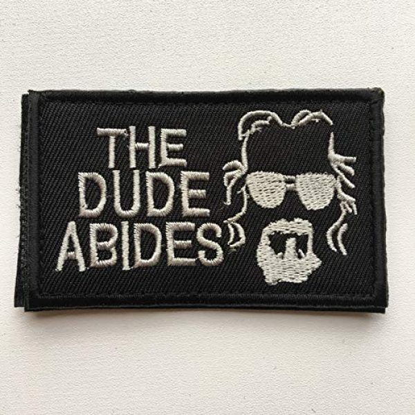 """Xunqian Airsoft Morale Patch 2 Big Lebowski The Dude Abides Pee Rug Patch. Perfect for Your Tactical Military Army Gear, Backpack, Operator Baseball Cap, Plate Carrier or Vest. 2x3"""" Hook Patch (A-Black)"""