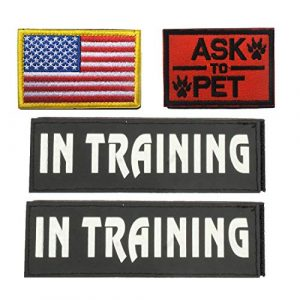 GrayCell Airsoft Morale Patch 1 GrayCell Dog Pack Hound Travel Hiking Backpack Saddlebags/Morale Service Dog Patches for Pet Tactical K9 Harness Vest (4)