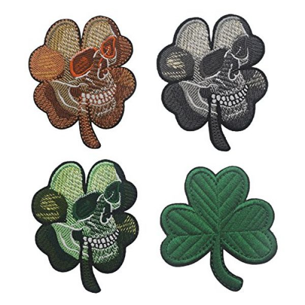 Zhikang68 Airsoft Morale Patch 5 Irish Clover Shamrock Skull Head Biker Tactical Morale Badge Emblem Embroidered Sew On Applique Patch (Green Skull)