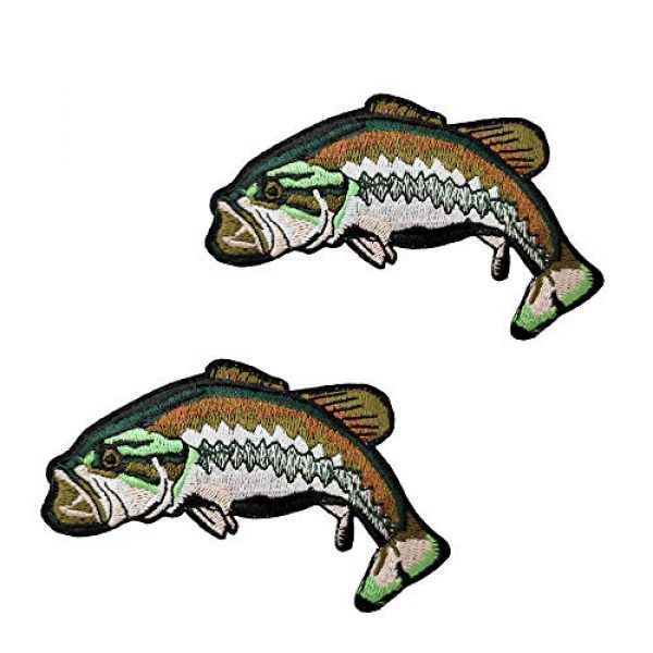 Cute-Patch Airsoft Morale Patch 1 2pcs Set Bass Fish Embroidered Iron on Patches Fishing Gifts for Men