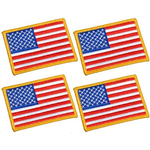 Chien Airsoft Morale Patch 1 Chien Tactical Morale Embroidery Patch Funny Military Patch USA Flag Full Embroidered Appliques for Caps Bags Vests Military Uniforms (4 Pieces USA Flags)