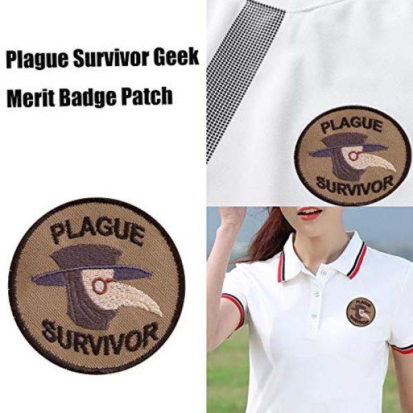 Esissenils Airsoft Morale Patch 5 Plague Survivor Geek Merit Badge Patch, 3PCS Patch Survivor Tactical Morale Embroidery Badge Hook and Loop Fastern Patches
