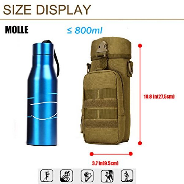 ArcEnCiel Tactical Pouch 5 ArcEnCiel Molle Water Bottle Pouch Tactical Military Kettle Set Holder Hydration Bag Carrier Pocket for Camping Climbing Cycling Hiking Travelling