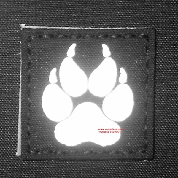 Tactical Freaky Airsoft Morale Patch 4 Multicam Infrared IR K9 Dog Handler Paw K-9 3x3 Tactical Morale Hook-and-Loop Patch