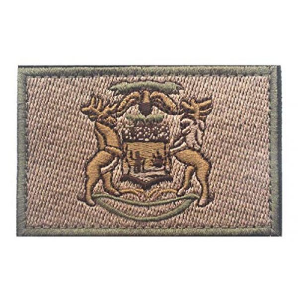 Tactical Embroidery Patch Airsoft Morale Patch 1 State Flag of Michigan Embroidery Patch Military Tactical Morale Patch Badges Emblem Applique Hook Patches for Clothes Backpack Accessories