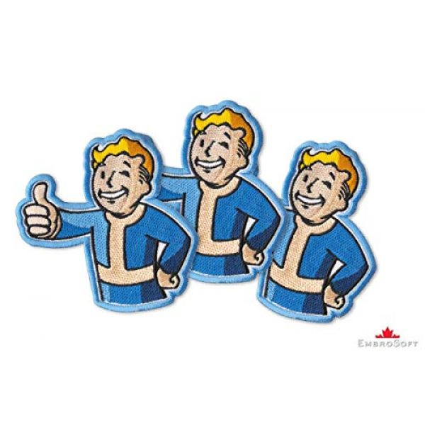 """Embrosoft Airsoft Morale Patch 2 Fallout Vault Boy Embroidered Patch Iron On (3.5"""" x 3.6"""")"""