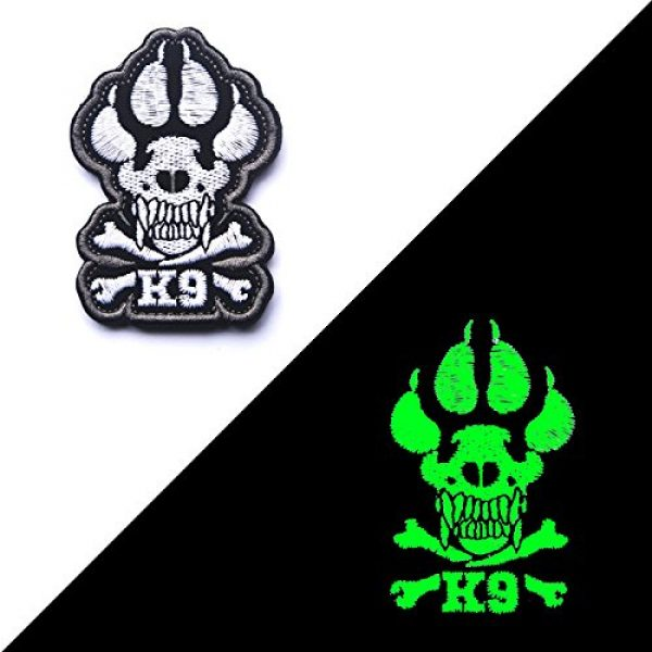 Zhikang68 Airsoft Morale Patch 3 K9 & Crossbone Killer Attack Police Dog Fastener Patch Embroidered Army Swat Morale Hook Loop Backing Tactial Badge Swat for Service Animal Vest (Night Reflective)