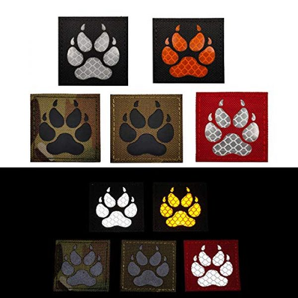 APBVIHL Airsoft Morale Patch 5 Reflective Infrared IR K9 Dog Handler Paw K-9 2x2 Tactical Morale Hook and Loop Fastener Patches