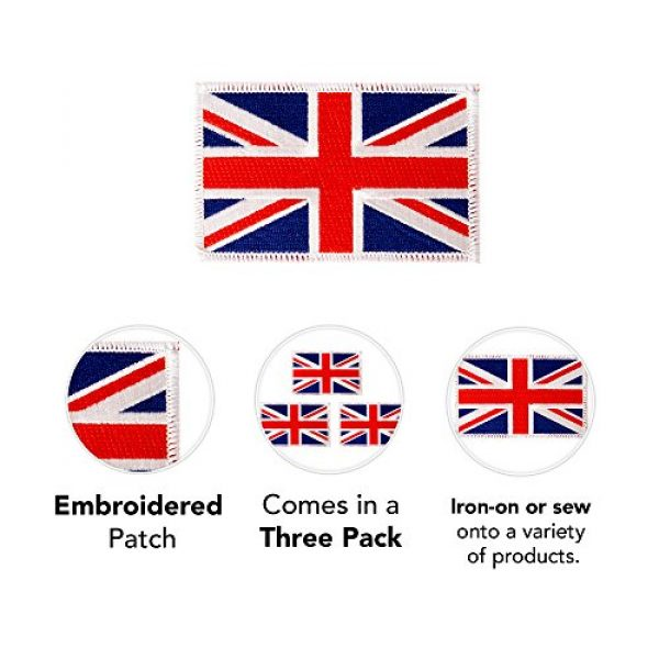 Desert Cactus Airsoft Morale Patch 3 United Kingdom UK Flag Patch Bulk 3-Pack 3.5Wx2.25H State Iron On Sew Embroidered Tactical Morale Back Pack Hat Bags Great Britain (3-Pack Patch)