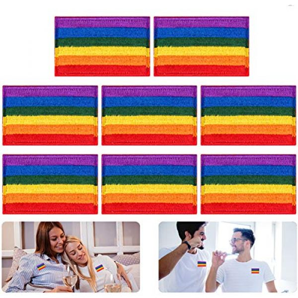 Alphatool Airsoft Morale Patch 1 Alphatool 8pcs LGBT Pride Rainbow Flag Patch- Gay Pride Lesbian Embroidered Iron On/Sew On Appliques Patch Morale Emblem with Hot Glue Design for Hat Cap Polo Backpack Clothing Jacket Shirt